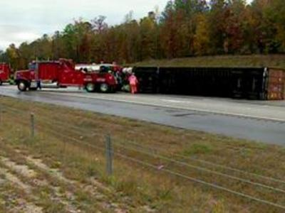 An overturned tractor-trailer on the U.S. 64/264 Bypass caused some problems for the morning commute Thursday, Nov. 15.