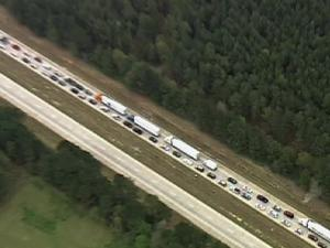 Traffic was stalled in both directions on I-40 in Johnston County following a wreck on April 1, 2009.