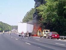 A tractor-trailer burned Monday on I-40, closing lanes and causing backups.