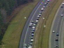Cars were backed up for miles on Interstate 40 in Sampson County on Nov. 25, 2009. One lane was closed for a repaving project.