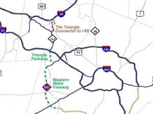 The stoplight-free route would start at U.S. 1 in southwest Wake County and run along the state's first toll road to Interstate 40, then from I-40 to U.S. 70.