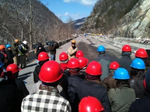 Students studying geology got a first-hand look Friday at the project facing engineers from the North Carolina Department of Transportation along Interstate 40.