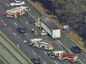 A wreck on Interstate 40 West, near the Harrison Avenue exit in Cary, backed up traffic for miles on March 1, 2010.