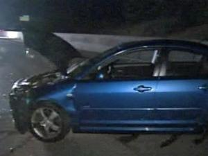 This blue car was involved in a collision Friday morning on I-40 in Durham County.