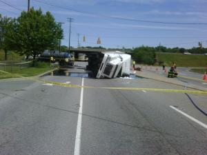 A truck overturned Wednesday on I-85 in Alamance County.