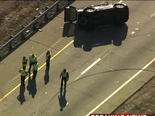An SUV flipped over and lanes were closed through Cary Friday afternoon.