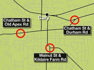 Cary wants to install roundabouts on Chatham Street at Durham and Old Apex roads and on Walnut Street at Kildaire Farm Road.