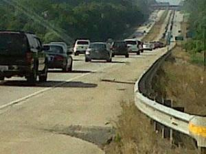 State transportation department officials reported heavy congestion on Interstate 40 westbound in Johnston County Monday evening, as motorists headed home after a hot and sunny holiday weekend.