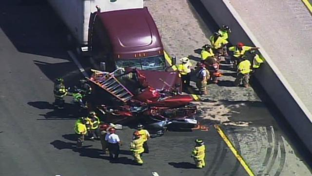 Crews on the scene of a wreck on Interstate 40 west at U.S. Highway 15/501 in Durham County on June 30, 2011.