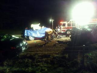 A four-car crash involving multiple injuries closed Interstate 40 West between mile markers 311 and 312 near Clayton, just west of N.C. Highway 42, on Nov. 17, 2011. (Photo courtesy of WRAL reporter Adam Owens)