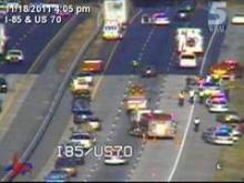 Interstate 85 North was closed near the U.S. Highway 70 split due a crash involving a tractor-trailer and a car, according to Durham police.