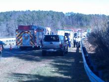 An SUV went off the bridge between Chapel Hill and Pittsboro, between Bynum and Durham Eubanks roads.