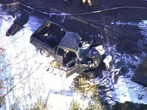 A tractor-trailer and pickup truck collided on U.S. Highway 301 north of Battleboro Friday afternoon, Dec. 23, 2011.