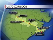 State officials said the drive from Raleigh to Beaufort could take as little as two hours once the U.S. Highway 70 corridor is complete.