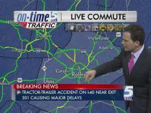 Tractor-trailer crash closes I-40 in Raleigh