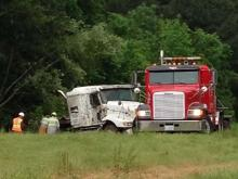 A tractor-trailer carrying concrete ran off the road Monday morning on Interstate 40 at I-440.