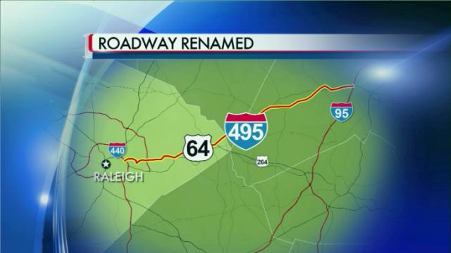 U.S. Highway 64 has been redesignated as Interstate 495 between Interstates 440 and 540 in Raleigh. The section of U.S. 64 between I-540 and Interstate 95 in Rocky Mount will be designated as I-495 once its shoulders are upgraded to meet interstate standards.
