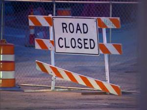 Road closed sign on Hillsborough Street in Raleigh