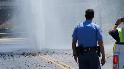 A water main break forced crews to close part of West Street in Raleigh on June 29, 2014.