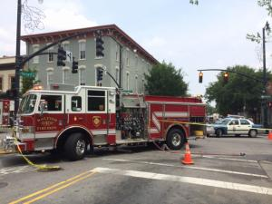 Workers struck a two-inch pipe Thursday afternoon, prompting a natural gas leak near the intersection of Hargett and Wilmington streets in downtown Raleigh.