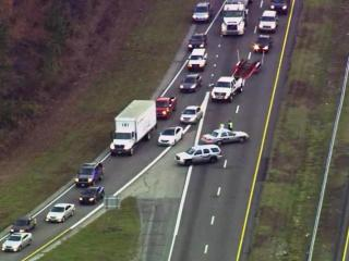 Authorities closed both southbound lanes of Interstate 95 in northern Cumberland County Thursday morning due to an overturned tractor-trailer.