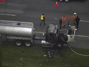Authorities have closed one lane of Interstate 95 North near Benson because a tractor-trailer fire, according to the North Carolina State Highway Patrol.