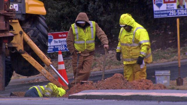 A water main leak forced police to temporarily close Wade Avenue's westbound lanes between Oberlin and Canterbury roads on Dec. 9, 2014.
