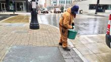 Crews prep sidewalks for ice in downtown Raleigh
