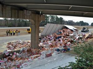 Authorities closed all southbound lanes of Interstate 95 north of Rocky Mount early Wednesday after a tractor-trailer carrying ramen noodles wrecked near N.C. Highway 4.