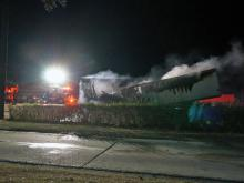 Authorities shut down part of Interstate 95 South near Selma early Tuesday after fire ripped through a tractor-trailer.