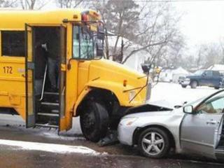 Ten students from Southern Vance High School in Henderson were being treated at a local hospital after a car hit the front of their bus early Tuesday afternoon. (Source: Twitter/@Mdw_mommytobe)
