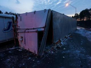 An overturned tractor-trailer closed lanes of northbound Interstate 85 before dawn Saturday. The right lane was closed near U.S. Highway15/501 at about 5:30 a.m., and the accident was expected to be clear by about 7 a.m., according to the State Department of Transportation.