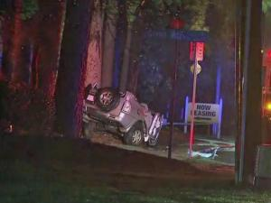 Authorities closed a portion of North New Hope near Capital Boulevard early Friday after a vehicle crashed into a tree.