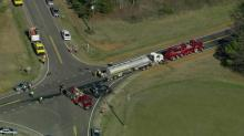 IMAGES: Four people injured in Louisburg crash with tanker truck