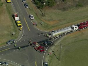 Four people were seriously hurt after their car collided with a tanker truck carrying fuel in Franklin County on Tuesday morning, March 31, 2015.