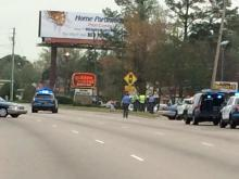 Police investigated after a car hit a pedestrian on northbound Capital Boulevard in Raleigh April 10, 2015.