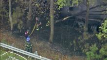 Firefighters worked in the woods along US 264 in Nash County after a tractor trailer ran off the road and caught fire.