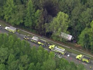 A tractor trailer left US 264 and caught fire in the woods Tuesday, Aug. 18, 2015