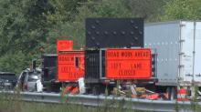 IMAGES: DOT contractor hit in Johnston work zone