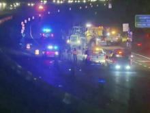 Authorities shut down eastbound lanes of Interstate 40 for more than three hours Wednesday morning after a wreck involving a dump truck and North Carolina Department of Transportation vehicle in the Fortify construction zone.