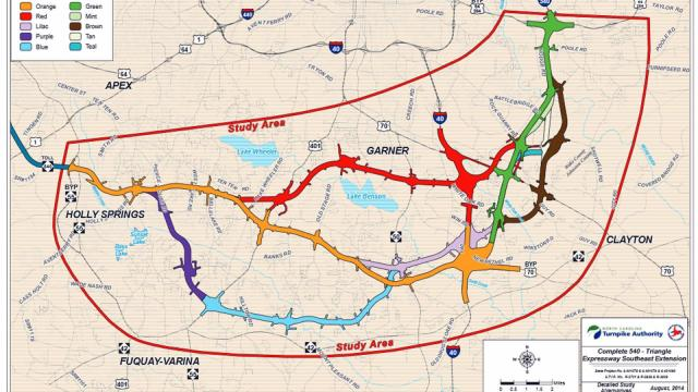 "The state Department of Transportation considered a variety of corridors for the final route of the N.C. Highway 540 toll road across southern and southeastern Wake County, including the ""red route"" through the heart of Garner."