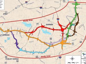 Map of Complete 540, NC 540 toll road routes