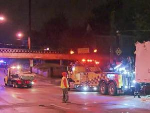 A truck headed westbound on Peace Street early Monday morning failed to clear the overhead railroad bridge.