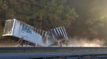 IMAGES: Truck carrying dry ice catches fire along I-95 in Johnston County
