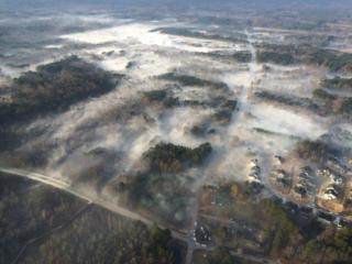 The Highway Patrol provided these aerial images of the smoke from a western Wake County fire.