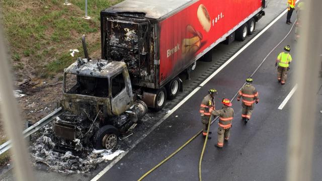 Westbound Interstate 40 was closed for a short time on Jan. 1, 2016, as firefighters put out a tractor-trailer fire.