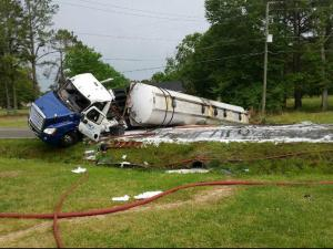 North Carolina Highway 96 was closed Monday afternoon after a gas tanker overturned near Live Oak Church Road.