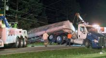 A truck driver is facing charges after a gas tanker overturned on North Carolina Highway 96 Monday afternoon.