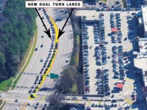 A new turn lane will reduce traffic congestion at the mall's main entrance.
