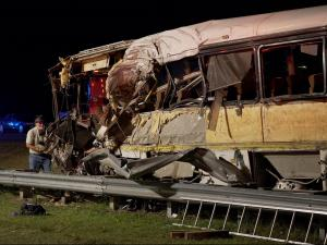 Four people died and more than 40 were injured Saturday when a charter bus carrying the football team from Ramah Juco Academy in Rock Hill, S.C., crashed on Interstate 74 near Rockingham.